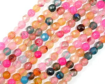 Agate Beads, Faceted Round, 4 mm, 14.5 Inch, Full strand, Approx 90 beads, Hole 0.8 mm (122025213)