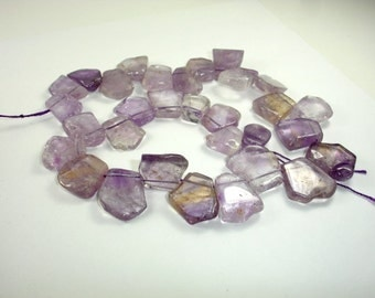 Ametrine Beads, Top Drilled, Slab, Approx (16-20)mm x (18-22)mm, 16 Inch, Full strand, Approx 29-31 beads, Hole 1 mm (116116001)