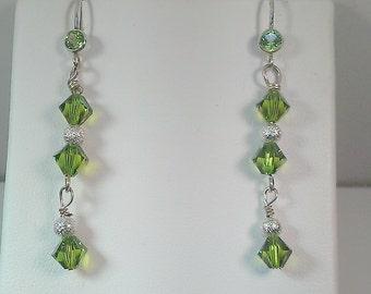 Swarvoski Crystals Earrings, Sterling Silver, Peridot Crystals, Peridot Earrings