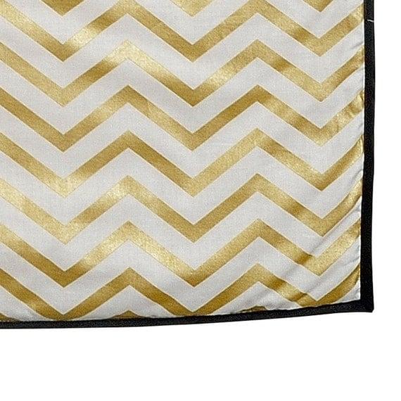 sale baby blanket goldwhite chevron print and white