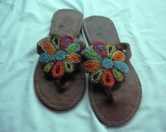 Sunflower - African Kenyan Handmade Leather Beaded Sandals Flip flops, Thongs