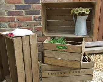 Vintage Style WOODEN APPLE CRATE, Shabby Chic Fruit Crate, Wooden Crate, applecrates, apple crates