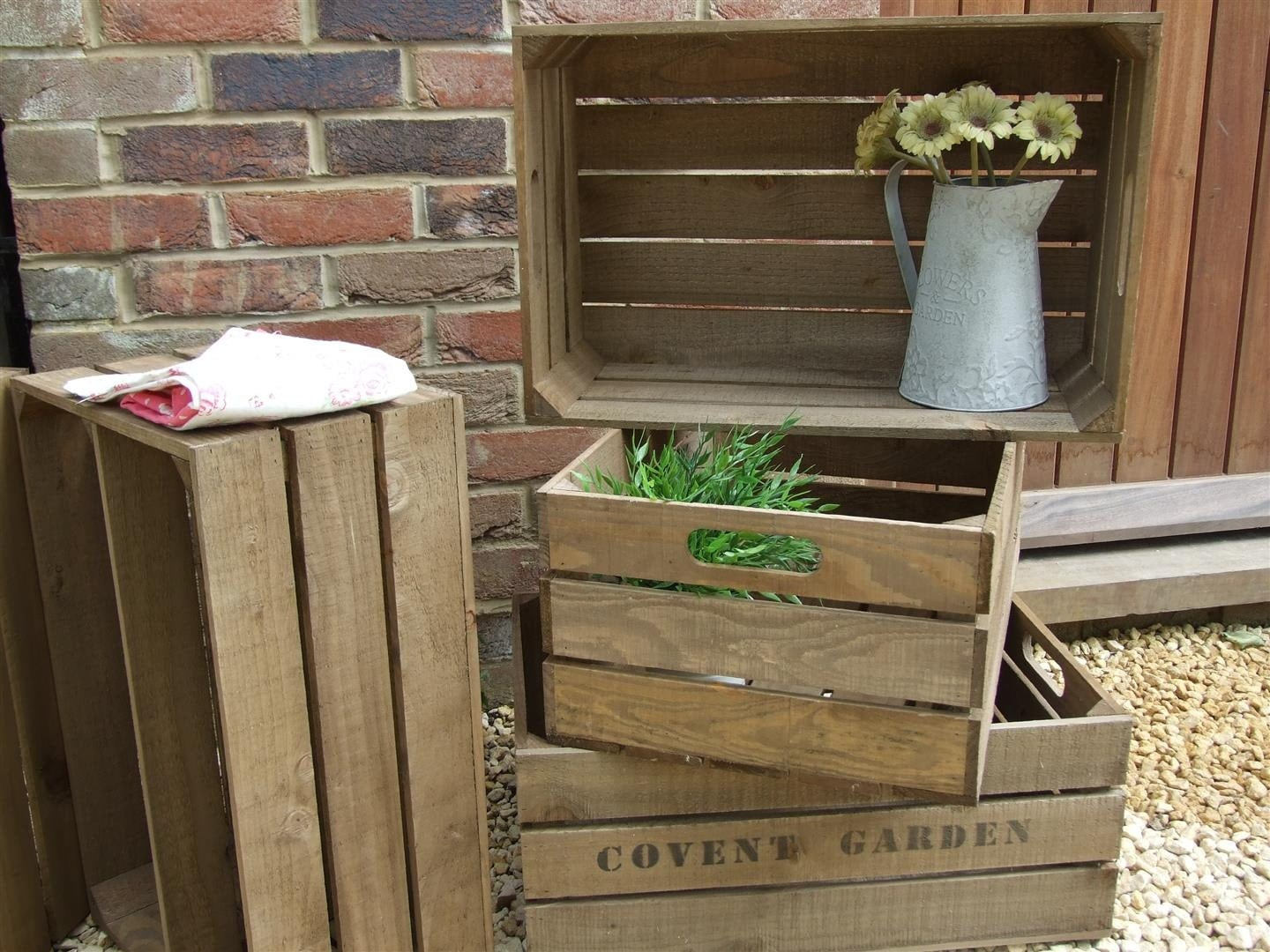 Vintage style wooden apple crate shabby chic fruit crate for Used apple crates