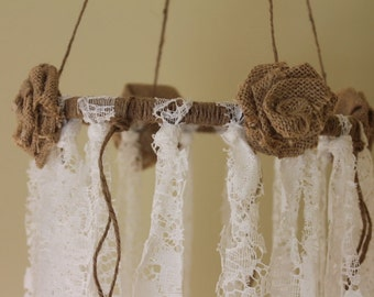 Shabby Chic Lace & Burlap mobile - Whimsical mobile - Nursery mobile - Shabby Chic wedding mobile - Burlap and lace mobile - Burlap wedding