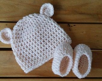 Crochet baby booties & beanie