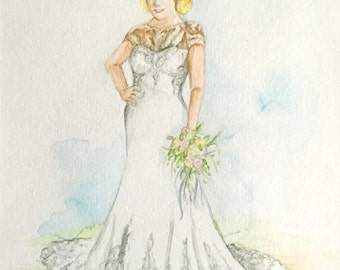 watercolor wedding dress dress painting etsy 8368