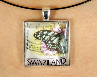 LIQUIDATION — Beautiful pendant made with a postmarked postage stamp