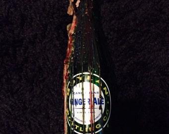 Vintage Ginger Ale Glass Bottle Drip Candle Stick Holder