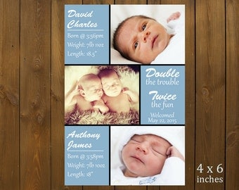 Custom Printable Birth Announcement - Twins