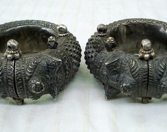 vintage antique collectible tribal old silver anklet bracelet bangle authentic
