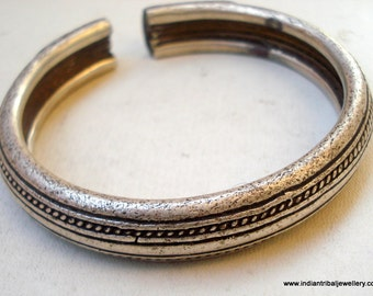 vintage antique tribal old silver bangle bracelet handmade jewelry