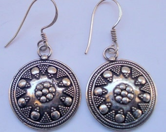 traditional design ethnic sterling silver earrings handmade jewelry