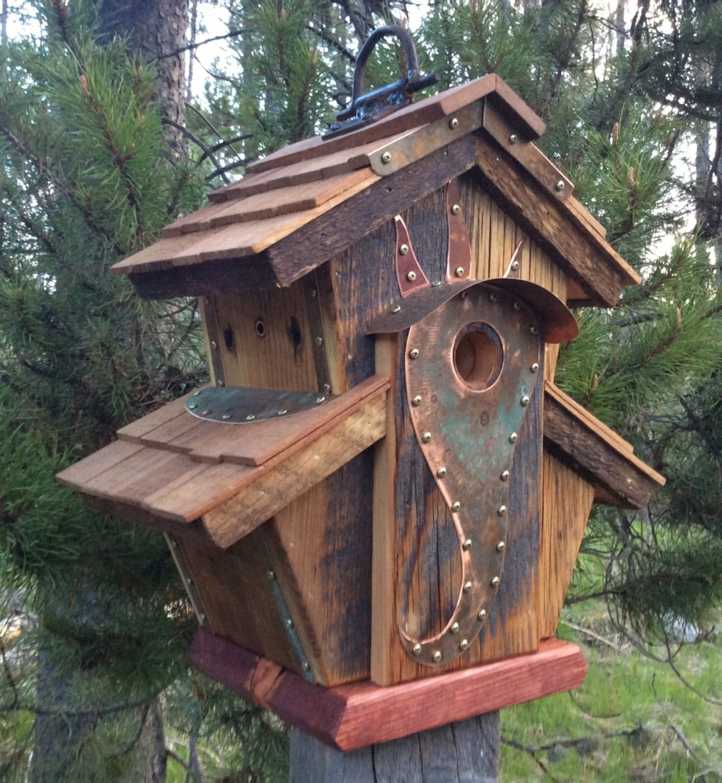 Unique barnwood birdhouse abbey copper design birthday wedding for Creative birdhouses