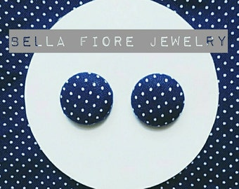 Navy with White Polka Dots button earrings