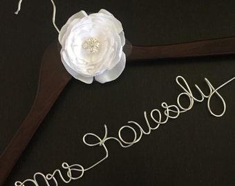 Bridal hanger with satin flower, Mrs. hanger, name hanger