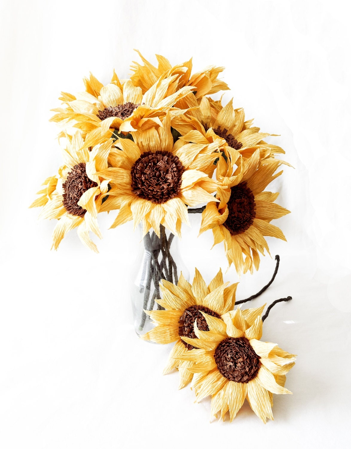 paper sunflowers We always look forward to seeing bright yellow sunflowers towering high in the  paper plate craft stick  to finish your paper plate sunflower craft.