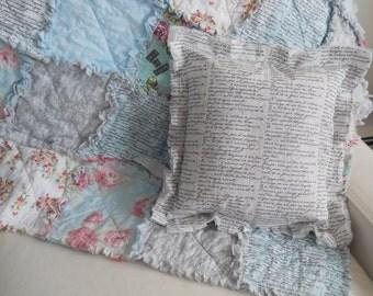 French Script  rag tattered pillow cover