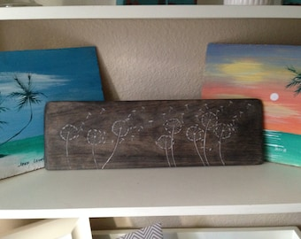 """Rustic Hand Carved Dandelion """"Make A Wish"""" Sign on Yellow Poplar with Ebony Stain with Pale White Highlights."""