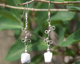 Sterling silver earrings with howlite