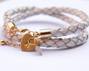 White Braided Leather Bracelet, Gold Plated Initial Charm, Raw Sapphire Charm