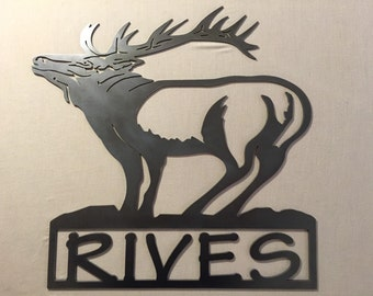 Elk Sign W/Name
