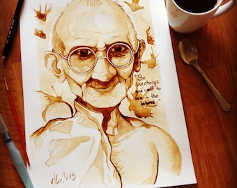 Gandhi coffee painting