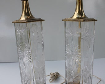Hollywood Regency   Modern  Cristal  Cut  Lamp  Pair  Signed By DRESDEW.