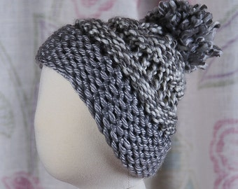 Knitted Pom Pom Ski Hat