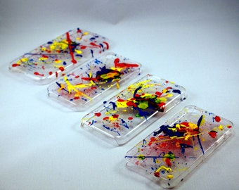 Crystal hard case cover for Apple iPhone 4/5/6 & genuine painting splash customs- handpainted and numeroted