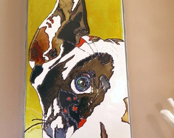 Harlequin Great Dane hand painted portrait- Vibrant Gloss Paint on Metal Canvas by DropMyPaintsStudio