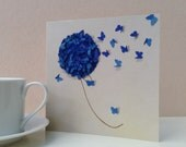 Blue Hydrangea Card, Mothers Day Card , Birthday Card for Mum, Birthday Card, Flower Card, Hydrangea Card, Butterfly Card, nan card