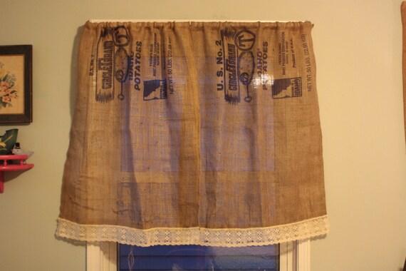 Curtains Ideas burlap sack curtains : Potato Sack Burlap Curtains with Lace Trim