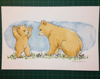 Baby Bear Wants to Play - original watercolour illustration