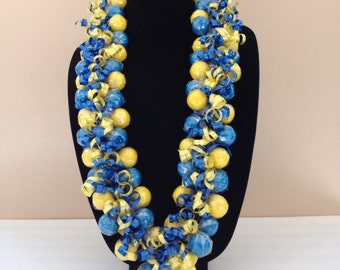 Gumball Lei, Royal Blue/Gold