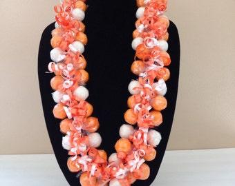 Gumball Lei, Orange/White