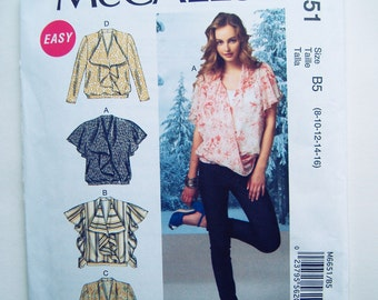 McCall's 6651 Blouse Sewing Pattern Out-of-Print Sz 8-16, Uncut