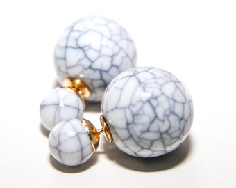 FLASH SALE!!! Tribal Double Pearl Earrings in White Marble Finish