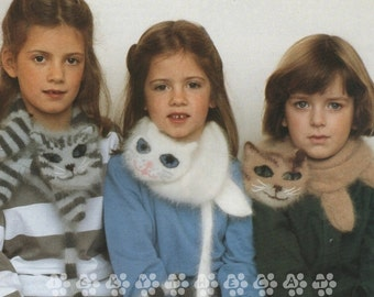 Vintage 1970s Knitting Pattern to make Appealing and Fun Cat Scarves with Special Features by A PDF for Immediate Digital Delivery