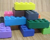 Block crayons, set of 13. Novelty crayons, boys party favors, stocking stuffers. Fun kids crayons in non toxic blend.