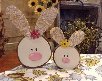 Wood slice bunny magnets, Easter Bunny, Cute Bunny