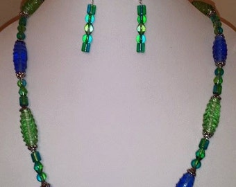 Green & Blue Glass Jewelry Set - Long Necklace - Women's Long Necklace - Women's Jewelry Set - Green Necklace- Blue Necklace - Blue - Green
