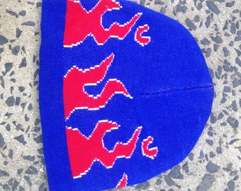 blue and red flame beanie