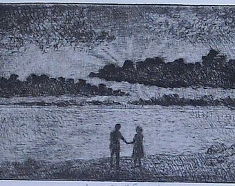 Lovers at Sunset.  Original drypoint framed and ready to hang.