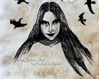 Morrighan - 30X45 Poster, Raven Phantom Queen Irish Battle Goddess