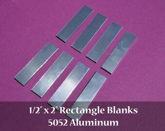 "50 - 5052 Aluminum 1/2"" x 2"" Rectangle Blanks - NO HOLES - Polished Metal Stamping Blanks - 14G 5052 Aluminum"