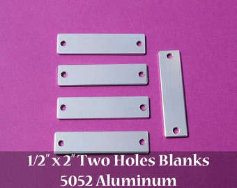 "25 - 5052 Aluminum 1/2"" x 2"" Rectangle Blanks - TWO HOLES - Polished Metal Stamping Blanks - 14G 5052 Aluminum"