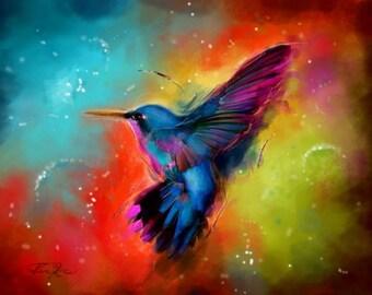 ACRYLIC Painting Giclee Print Illustration Canvas Print Fine Art Print of ORIGINAL Acrylic Painting Hummingbird