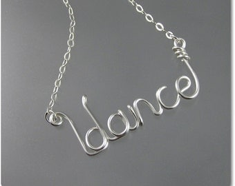 dance Wire Word Pendant Necklace