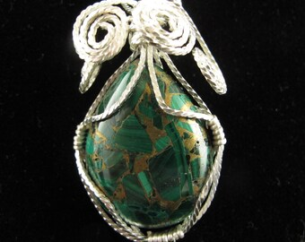 Wire Wrapped Malachite with Pyrite