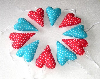 Red Blue Fabric Hearts, Handing Fabric Ornament,  home decor, fabric heart, red hearts, set of 10